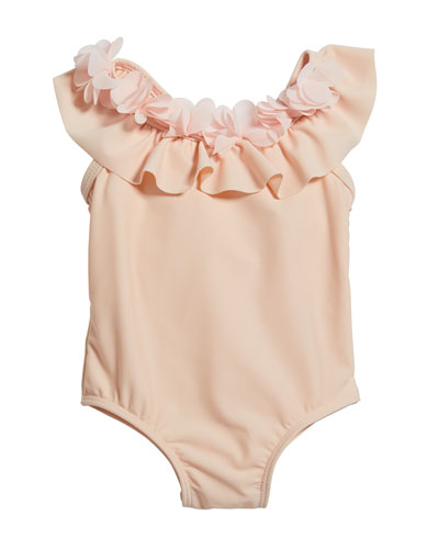 Girl's Ruffle Rosette One-Piece Swimsuit, Size 3-24 Months