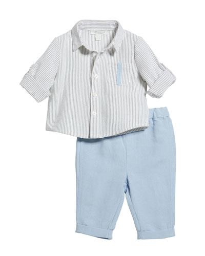 Stripe Button-Down Shirt w/ Matching Pants, Size 3-24 Months