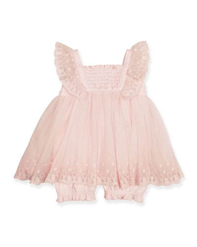 Floral Embroidered Tulle Top w/ Ribbed Leggings, Size 3-9 Months