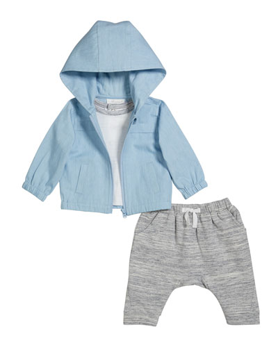 Boy's Hooded Jacket w/ Short-Sleeve Top & Heathered Joggers, Size 3-24 Months