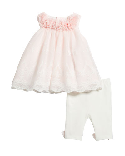 Lace Rosette Top w/ Matching Leggings, Size 3-24 Months