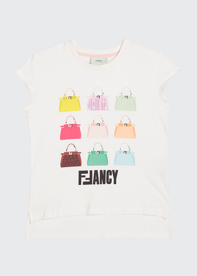 Girl's FFancy Handbag Illustration Tee, Size 4-6