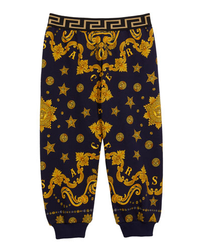 Boy's Barocco Western-Print Sweatpants, Size 12-36 Months