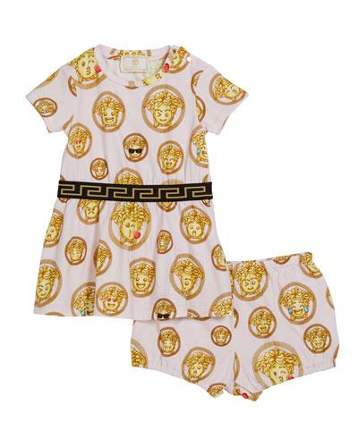 Girl's Medusa Emoji Short-Sleeve Dress w/ Bloomers, Size 3-12 Months