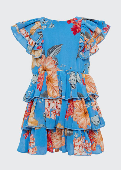 Girl's Beverly Floral Tiered Dress, Size 7-16