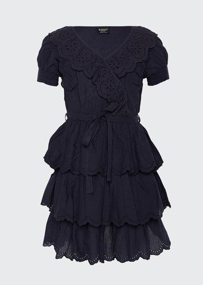 Girl's Cindy Broderie Mock Wrap Dress, Size 7-16