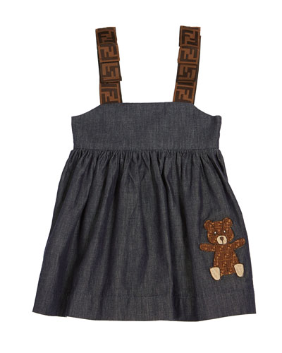 Girl's Chambray FF-Trim Sleeveless Dress, Size 12-24 Months