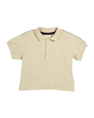Boy's Logo Trim Polo Shirt, 12-24 Months, Beige