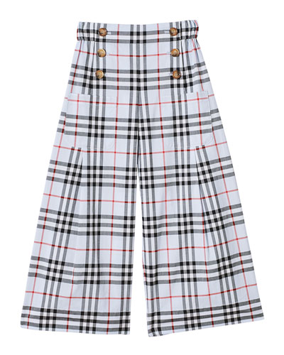 Girl's Taren Wide-Leg Check Sailor Pants, Size 3-14