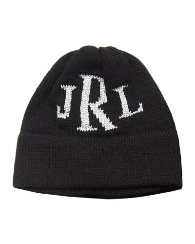 Kid's Metallic Classic Monogram Beanie Hat, Personalized
