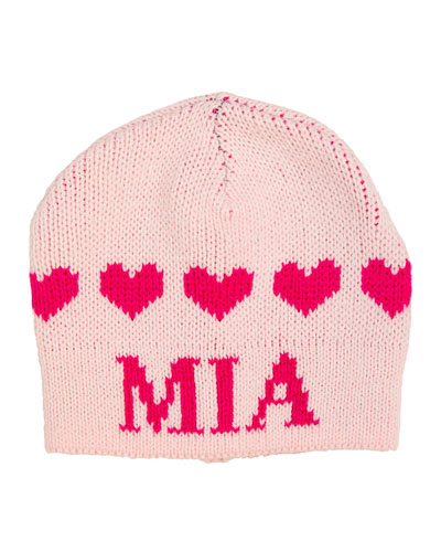 Kid's String of Hearts Beanie Hat, Personalized