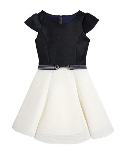Girl's Emersyn Two-Tone Knit Swing Dress, Size 4-6X