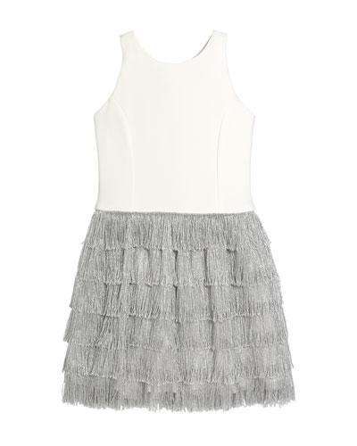 Girl's Jessie Stretch Knit Dress w/ Metallic Fringe Skirt, Size 7-16