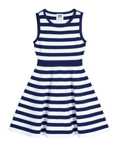 Girl's Striped Knit Fit-and-Flare Dress, Size 7-16