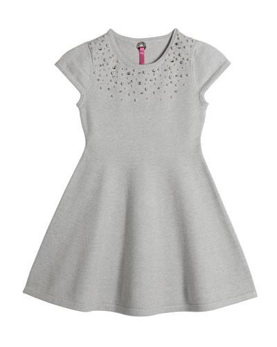 Girl's Faux Pearl Trim Dress, Size 4-16