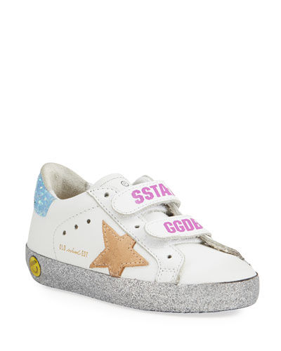Girl's Old School Leather Sneakers, Baby/Toddler