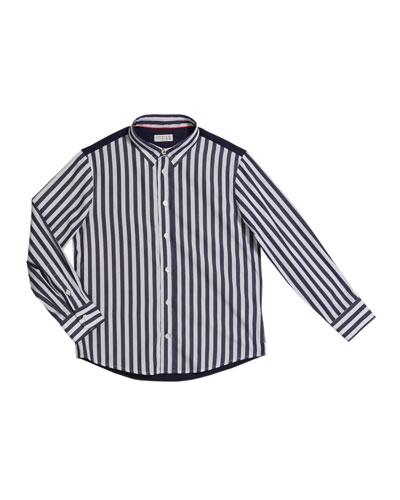 Boy's Striped Button-Down Shirt, Size 12-14