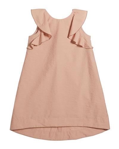 Girl's Cotton Poplin Ruffle Dress, Size 12-14