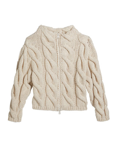 Girl's Zip-Front Chunky Cable Knit Cardigan, Size 12-14
