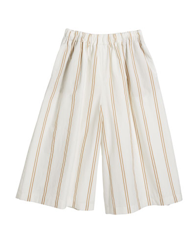 Girl's Striped Pull-On Pants, Size 8-10
