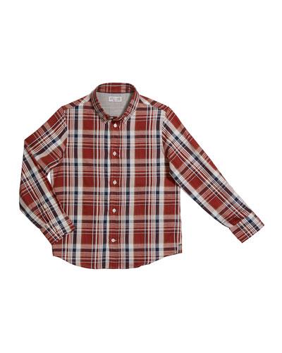 Boy's Plaid Button-Down Shirt, Size 12-14