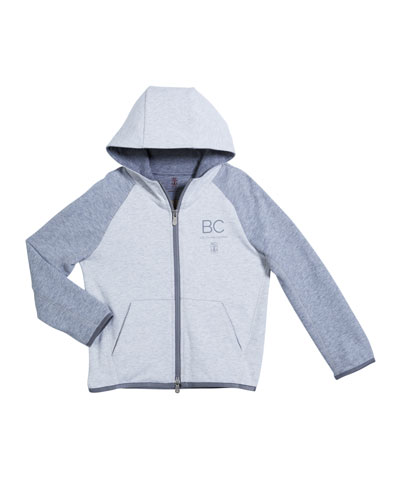 Boy's Two-Tone Hooded Zip-Front Sweatshirt, Size 12-14