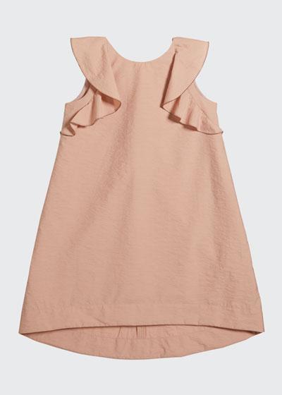 Girl's Cotton Poplin Ruffle Dress, Size 4-6
