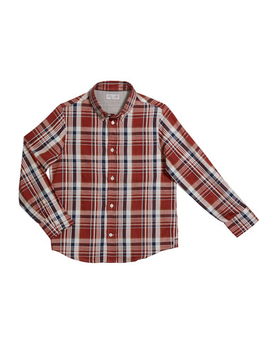 Boy's Plaid Button-Down Shirt, Size 8-10