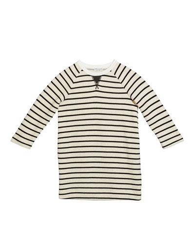 Girl's Felpa Stripe Long-Sleeve Cotton Dress, Size 4-6