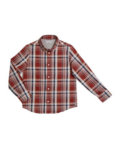 Boy's Plaid Button-Down Shirt, Size 4-6