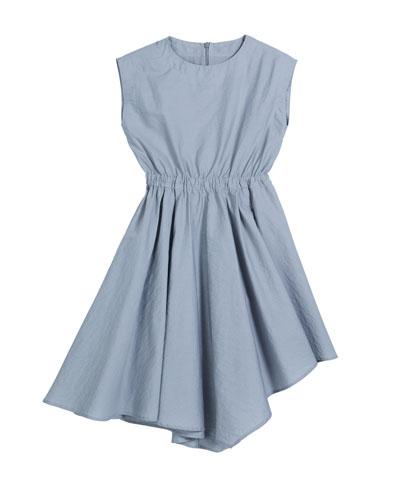 Girl's Cinched-Waist Asymmetrical Poplin Dress, Size 12-14
