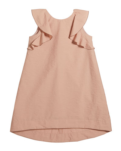 Girl's Cotton Poplin Ruffle Dress, Size 8-10