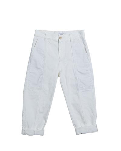 Girl's Garment Dyed Carpenter Pants, Size 4-6