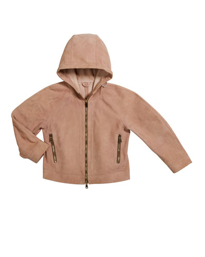 Girl's Hooded Suede Jacket, Size 8-10