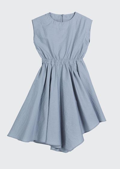 Girl's Cinched-Waist Asymmetrical Poplin Dress, Size 4-6