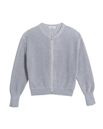 Girl's Cotton Paillette Zip-Front Cardigan, Size 12-14