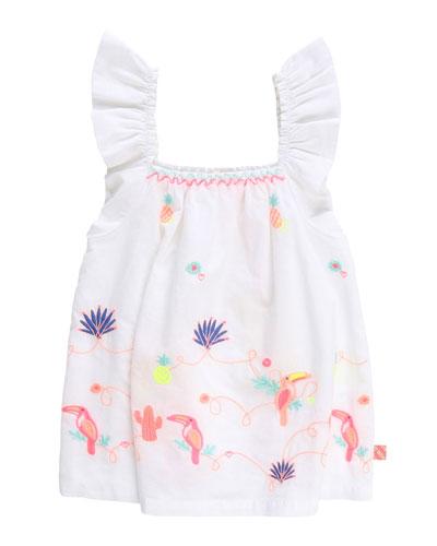Girl's Ruffle-Strap Poplin Top w/ Multicolor Embroidery, Size 4-10