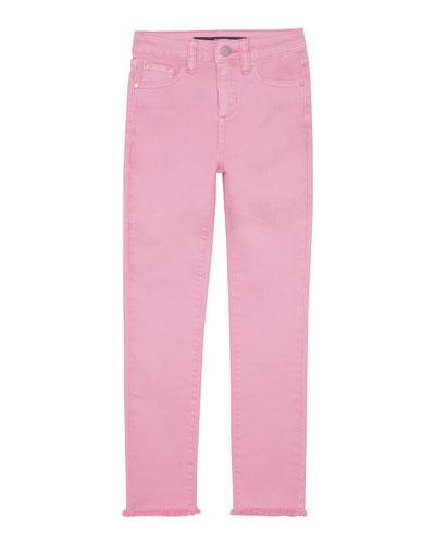 Girl's Neon Dyed Raw-Hem Twill Skinny Jeans, Size 4-6X