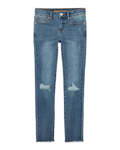 Girl's Mid Rise Distressed Skinny Jeans, Size 4-6X