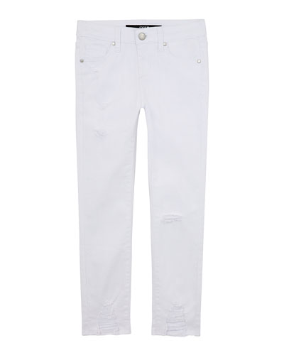Girl's Mid Rise Destroyed Hem Ankle Jeans, Size 4-6X