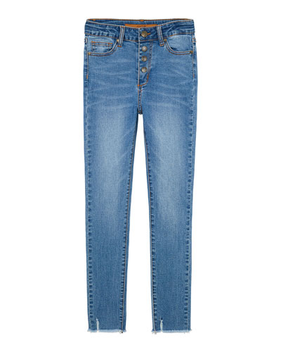 Girl's High Rise Button Fly Ankle Jeans w/ Raw Hem, Size 7-16