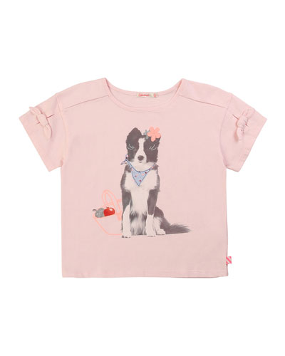 Girl's Dog Graphic Short-Sleeve Tee w/ Bows, Size 4-10
