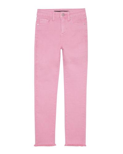 Girl's Neon Dyed Raw-Hem Twill Skinny Jeans, Size 7-16