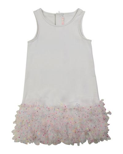 Girl's Sleeveless Milano Dress w/ Tulle Frill-Hem, Size 4-10