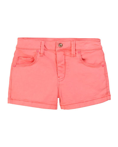Girl's Twill Shorts with Eyelet Patch Pockets, Size 4-10