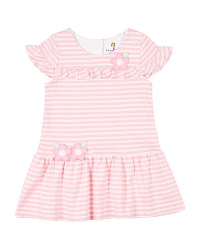 Girl's Stripe Knit Ruffle Dress w/ Flower Appliques, Size 2-4T