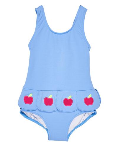 Girl's Petal Skirt One-Piece Swimsuit, Size 2-4T