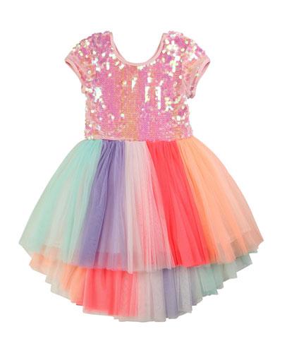Girl's Sequin-Bodice Multicolored Tulle Dress, Size 4-10