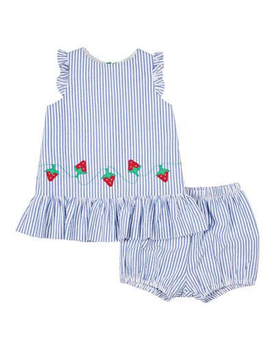 Girl's Strawberry Treat Ruffle Top w/ Matching Shorts, Size 3-24 Months