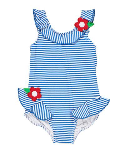 Girl's Seersucker Flower One-Piece Swimsuit, Size 6-24 Months